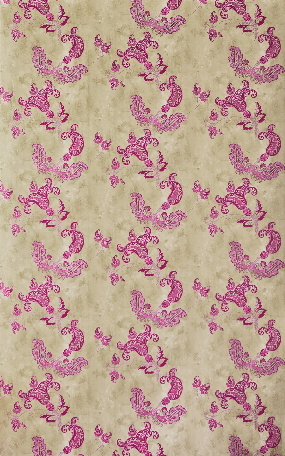 Paisley Wallpaper Hot Pink on Tea Stain