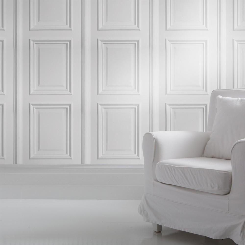 Panelling Wallpaper White Panelling Wallpaper
