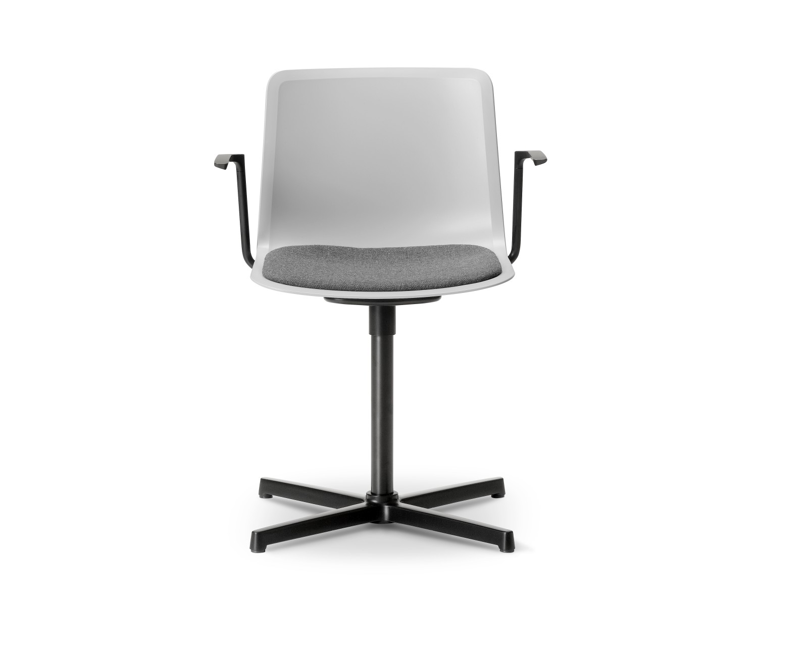 Pato Swivel Armchair with Seat Upholstery Chrome Steel, Quartz grey, Remix 2 143