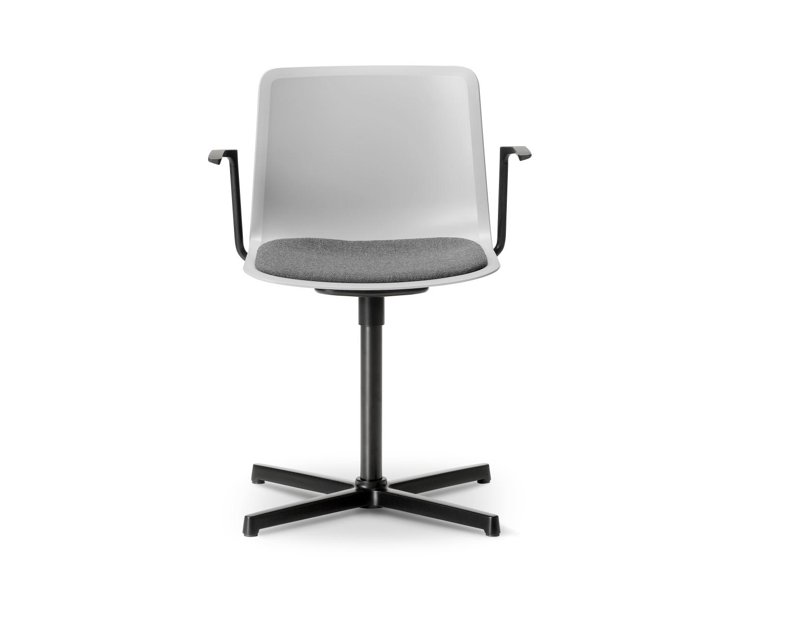 Pato Swivel Armchair with Seat Upholstery Chrome Steel, Quartz grey, Remix 2 143