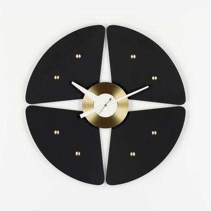 Petal Clock black/brass