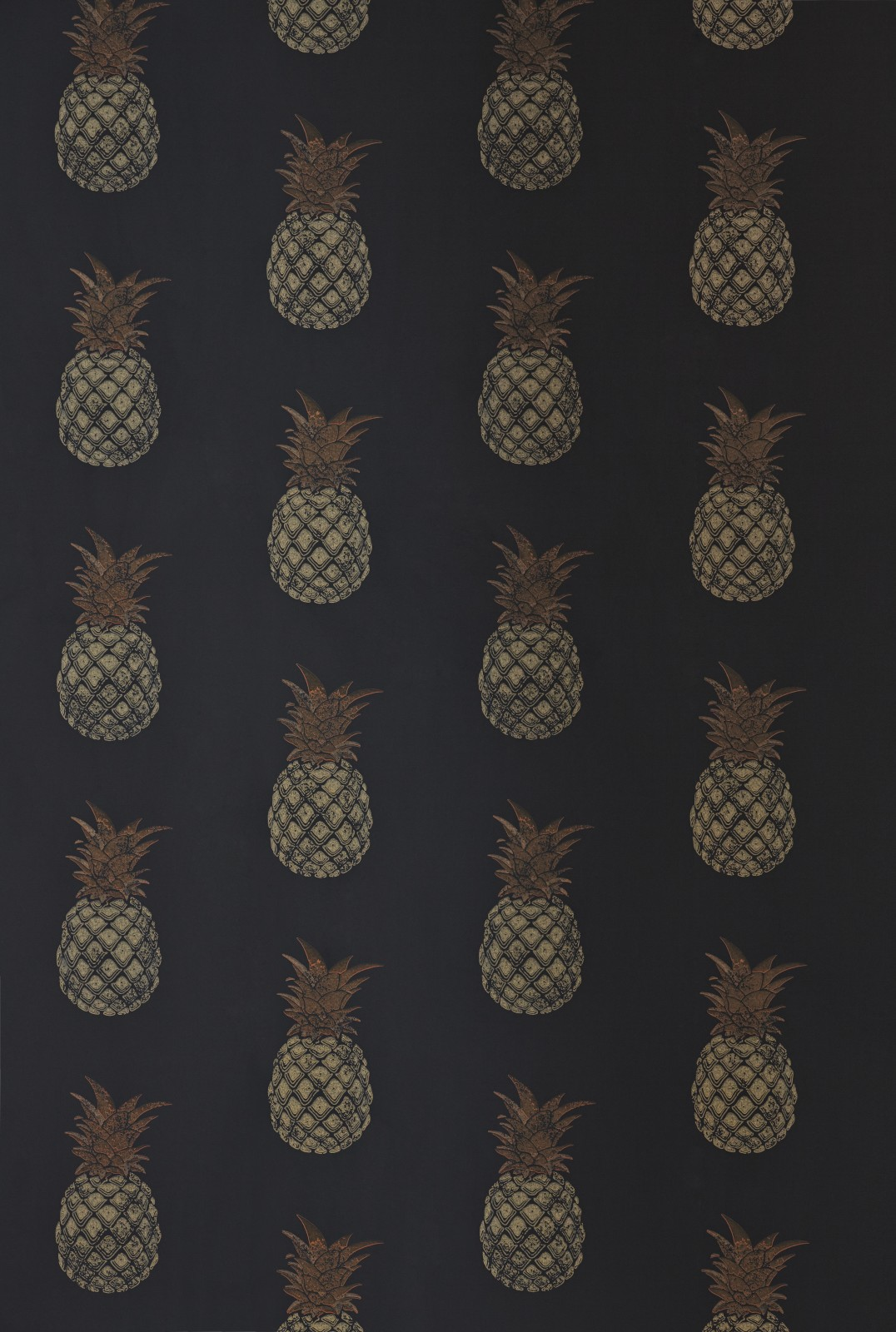 Pineapple Wallpaper Charcoal/Gold