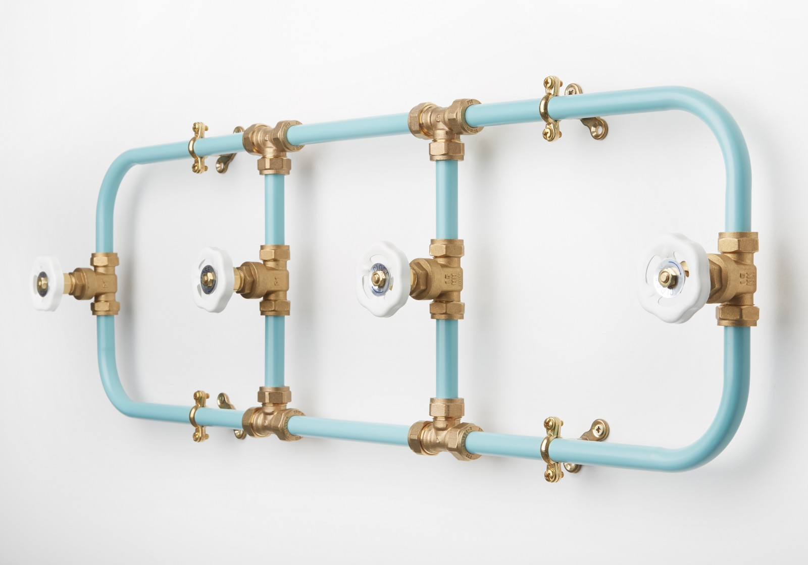 Pipework Coat Rack Blue with White Hooks
