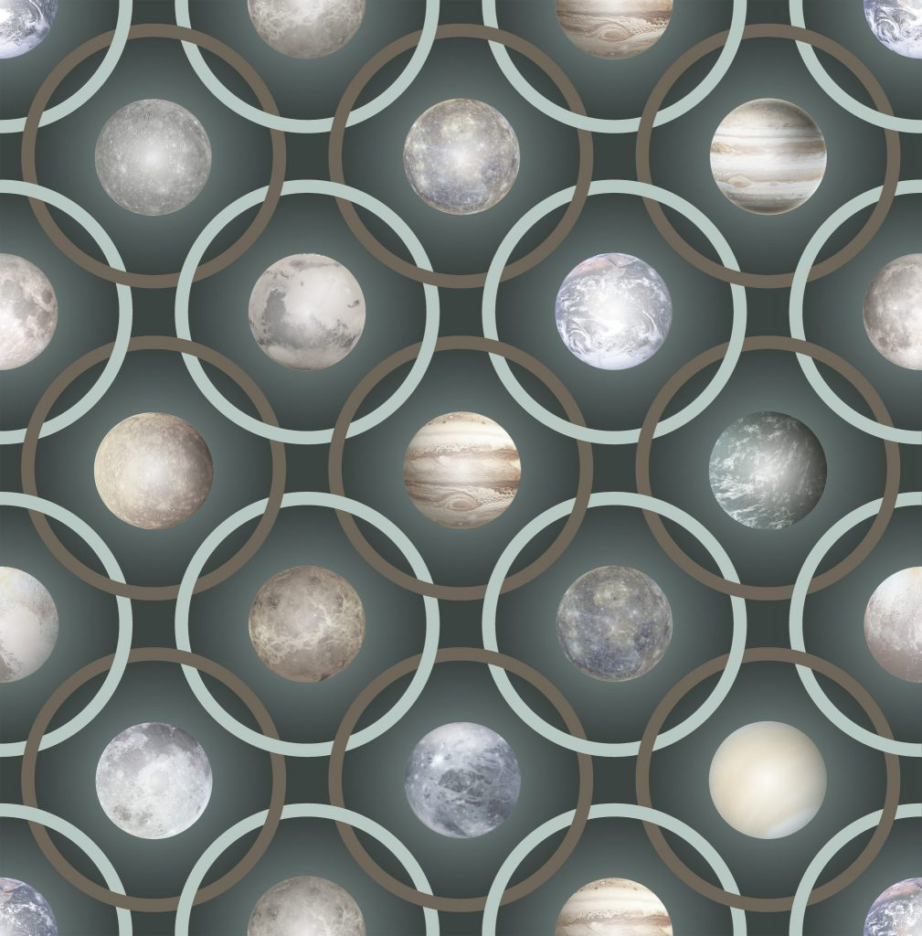 Planetas Rug, Square Green, Polyamide