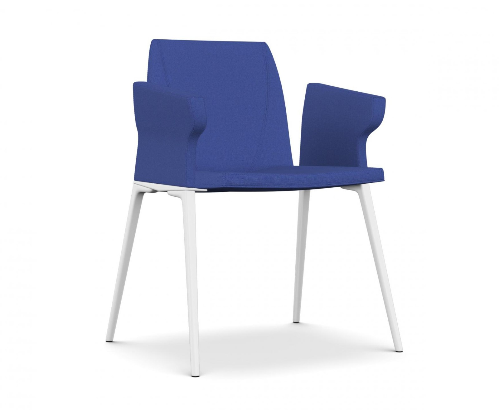 Plate 46 Chair with Armrests A7244 - Field 762 blue, White lacquered aluminium