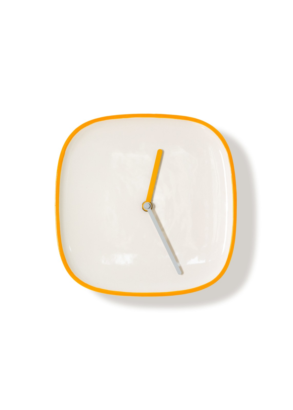 PLATE Clock White & Orange