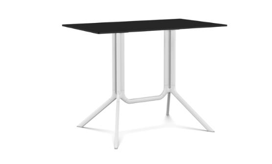 Poule Double Table, Rectangular Fixed Top White, Black, L100 x D59 x H73