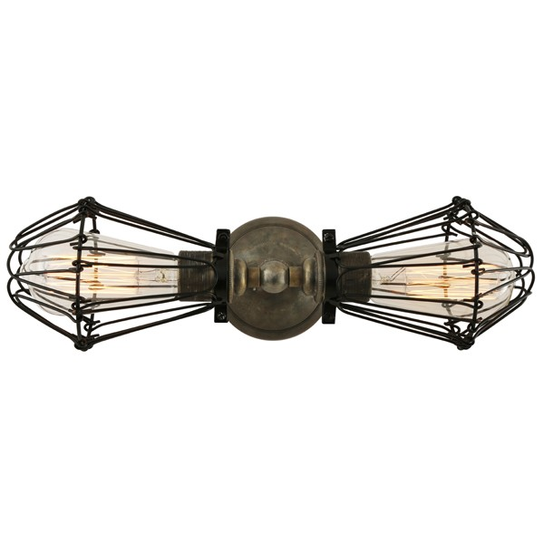Praia Vintage Double Cage Wall Light Antique Silver & Black Cage