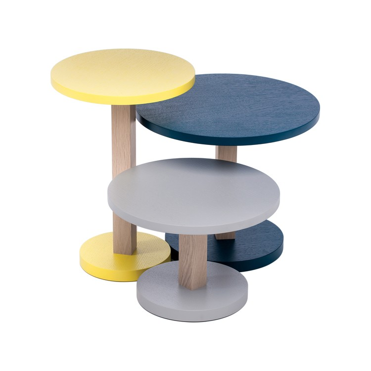Primo set of 3 tables Yellow/Petrol Blue/Stone Grey