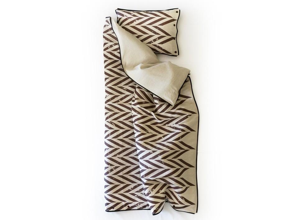 Printed linen bedding set Single - Brown print