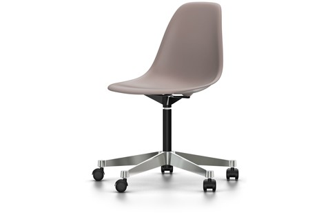 PSCC Eames Plastic Side Chair 02 castors hard - braked for carpet, 25 mauve grey