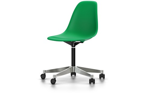 PSCC Eames Plastic Side Chair 02 castors hard - braked for carpet, 93 classic green