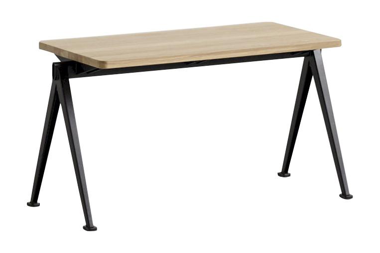 Pyramid bench 11 Black Frame, Matt Lacquered Oak Tabletop, 85cm