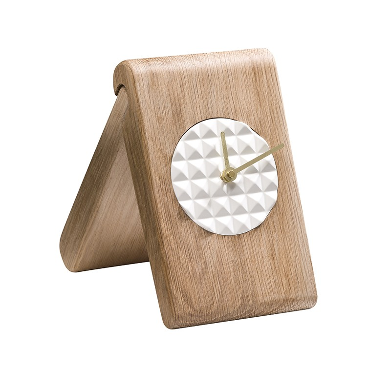 Pyramid Clock NATUAL OAK/WHITE