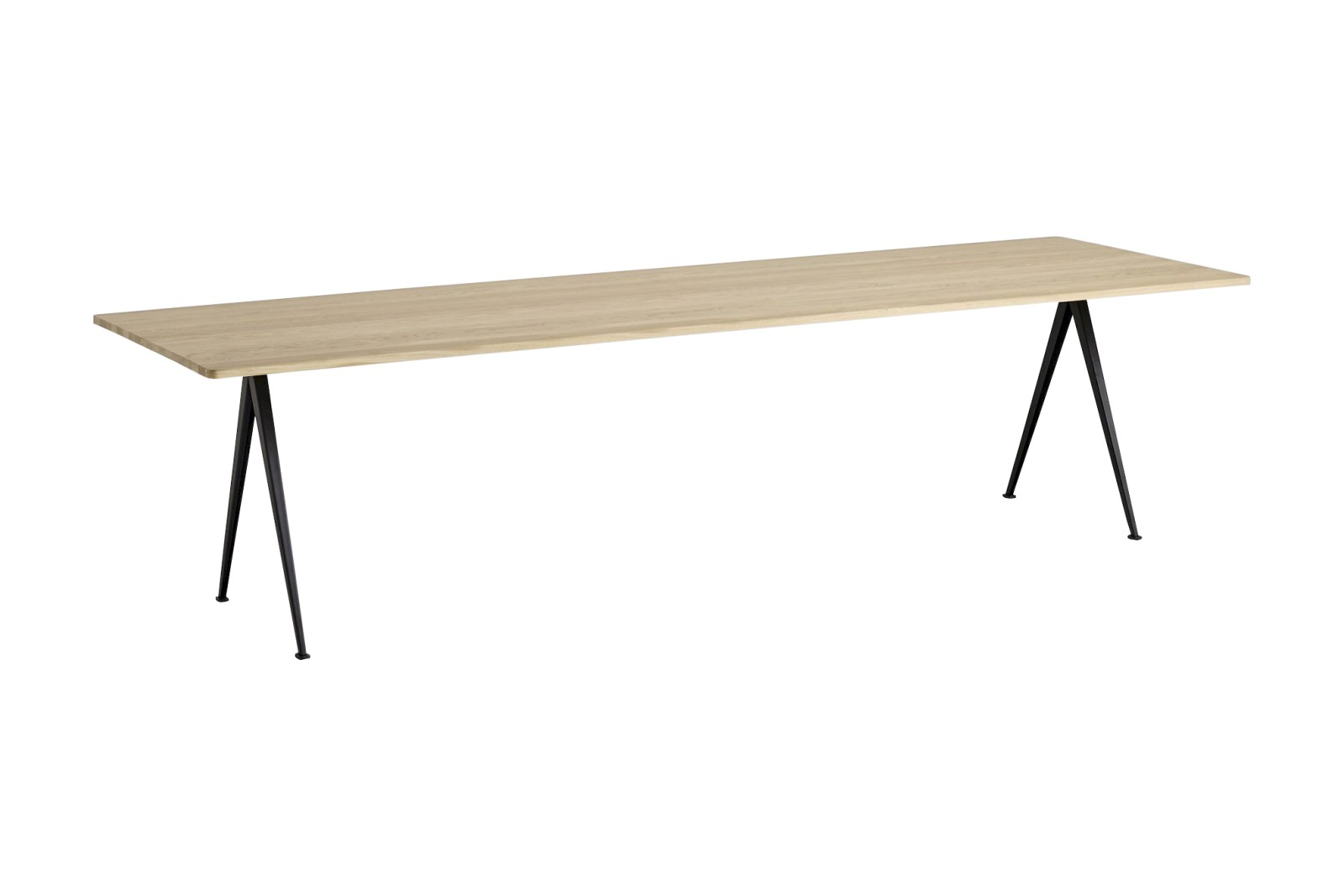 Pyramid table 02 Black Frame, Matt Lacquered Oak Tabletop, 300cm