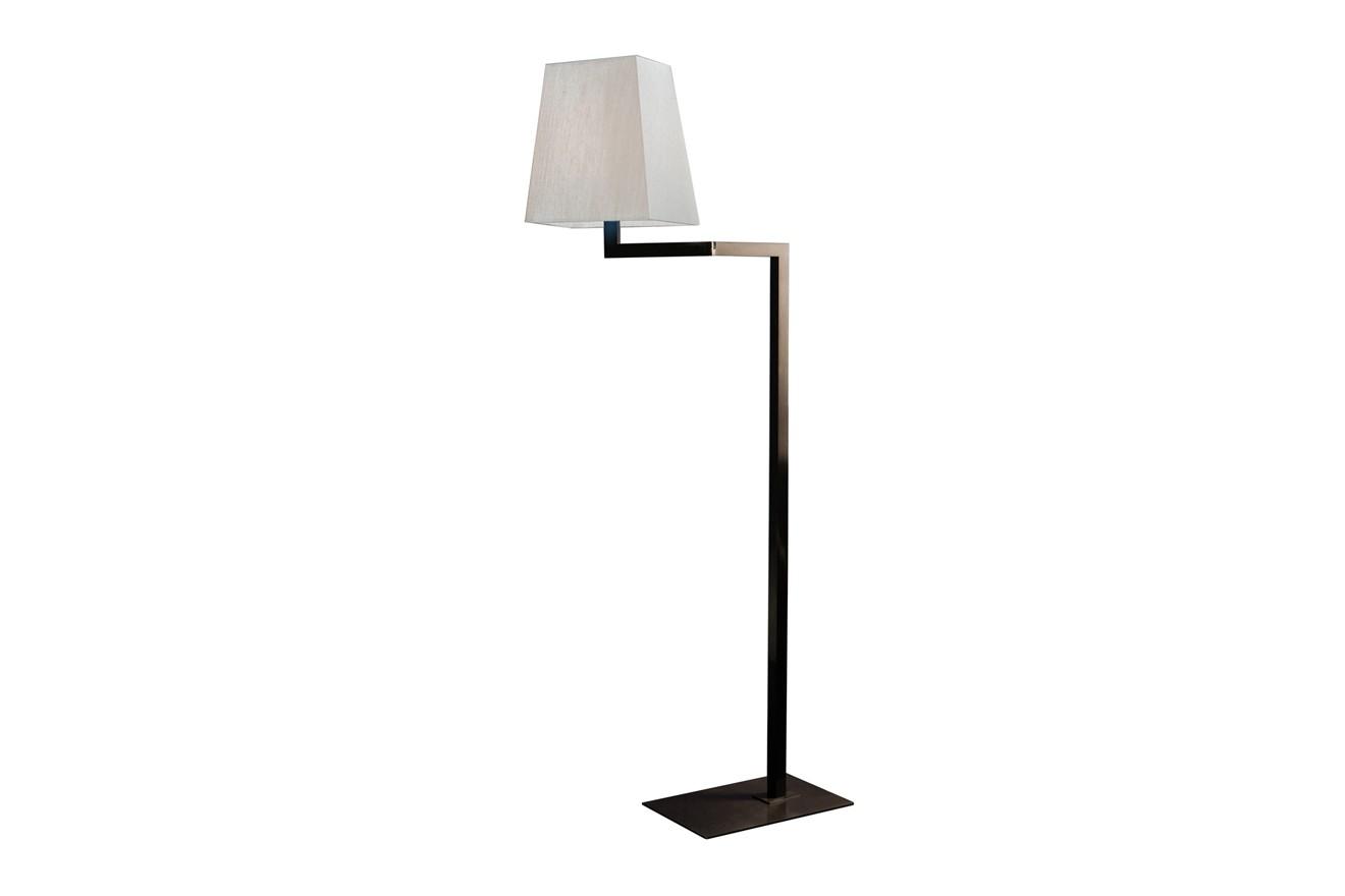 Quadra Liseuse Floor Lamp Satin bronze, White linen
