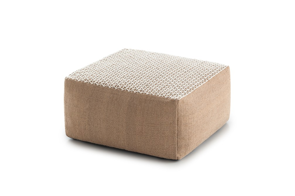 Raw Small Pouf White