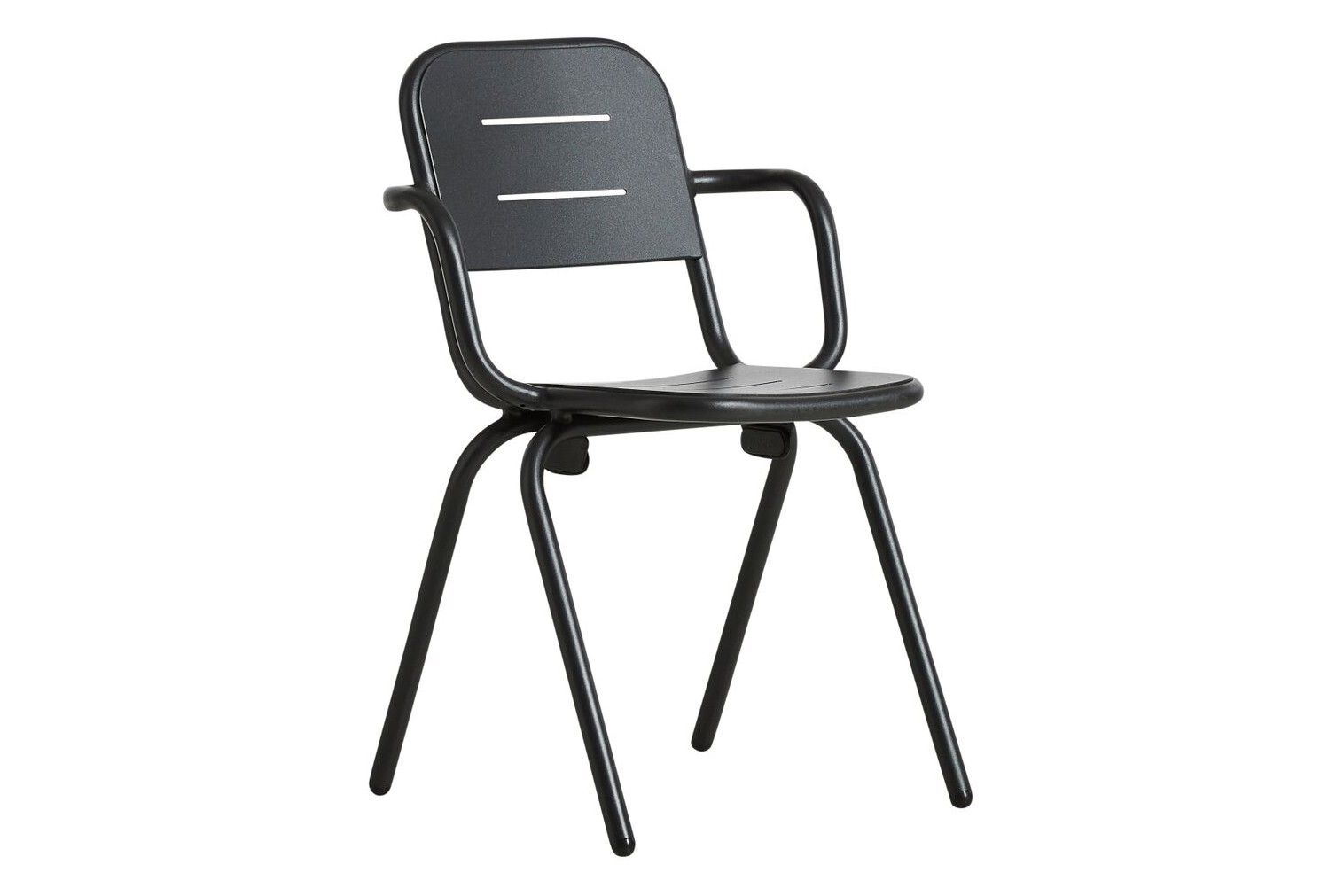 Ray Cafe Dining Chair with Armrests - Set of 2 Charcoal Black