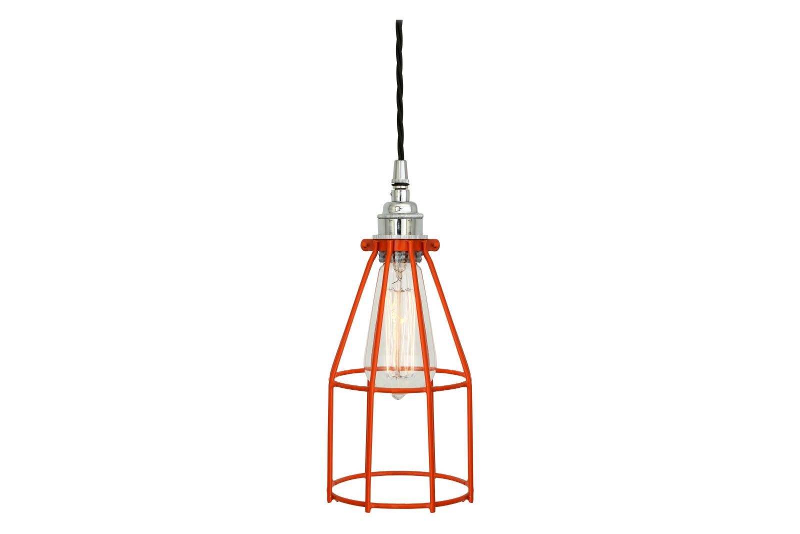 Raze Cage Pendant Light Powder Coated Orange