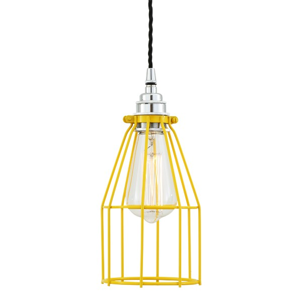 Raze Cage Pendant Light Yellow Cage with Chrome Lampholder
