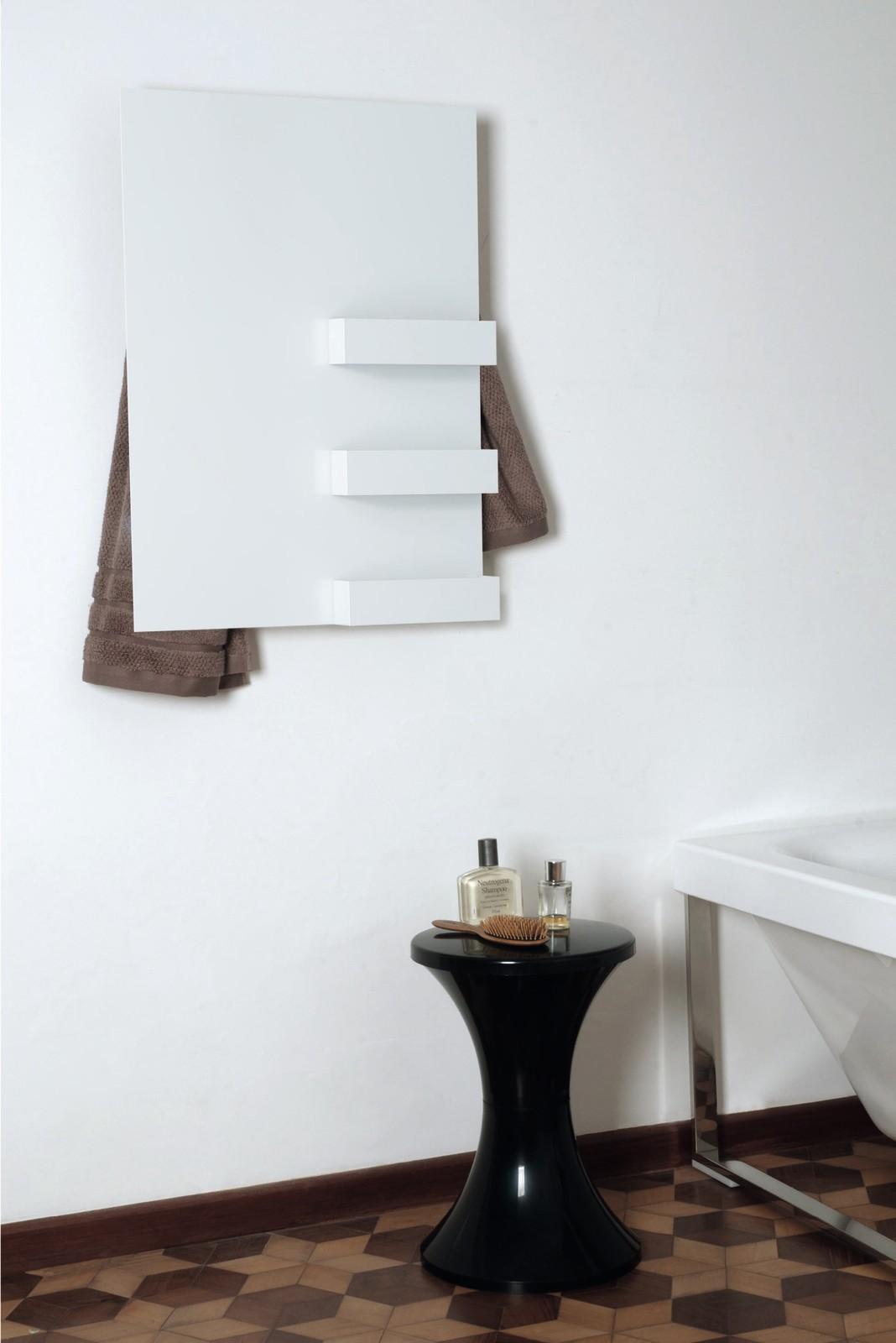 Rectangle & Shelves Towel Warmer White