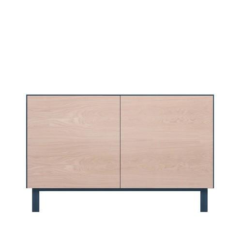 Rectangular Cabinet 2 Doors Oak, Petrol Blue