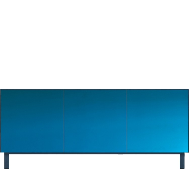 Cubo Rectangular Cabinet 3 Doors Petrol Blue with Blue Mirror Front