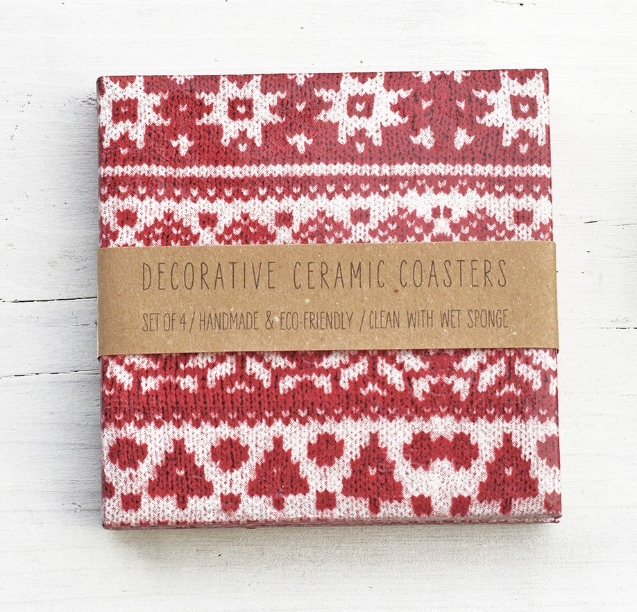 Red Knit Ceramic Coasters