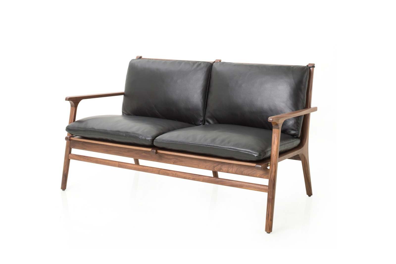 Re n Lounge Two Seater Sofa Wood Natural Walnut, Crystal Crystal Black - 9893