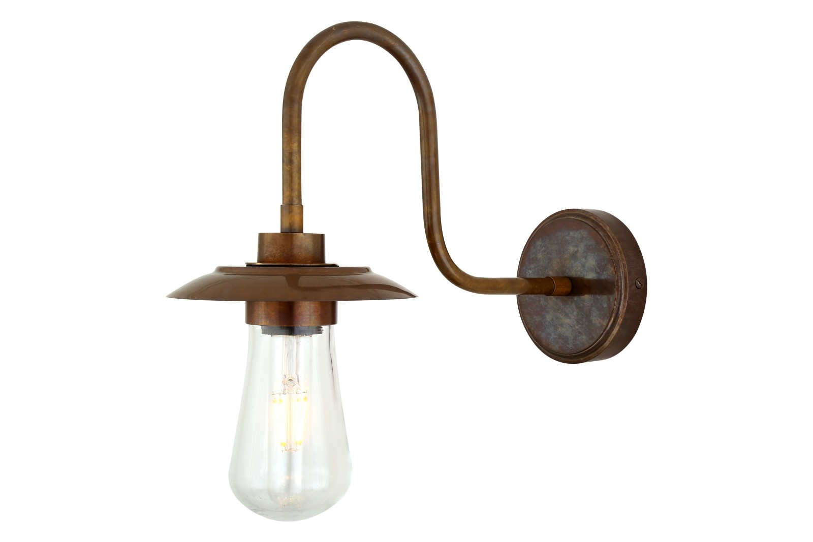 Ren Swan Neck Wall Light Antique Brass