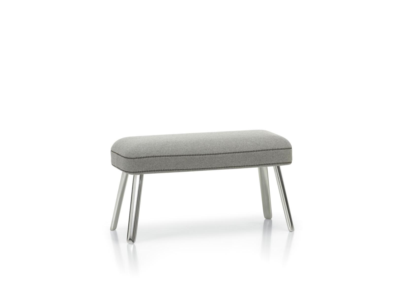 Repos Panchina 04 glides for carpet, Dumet 06 pebble melange, 02 aluminium polished, 75cm