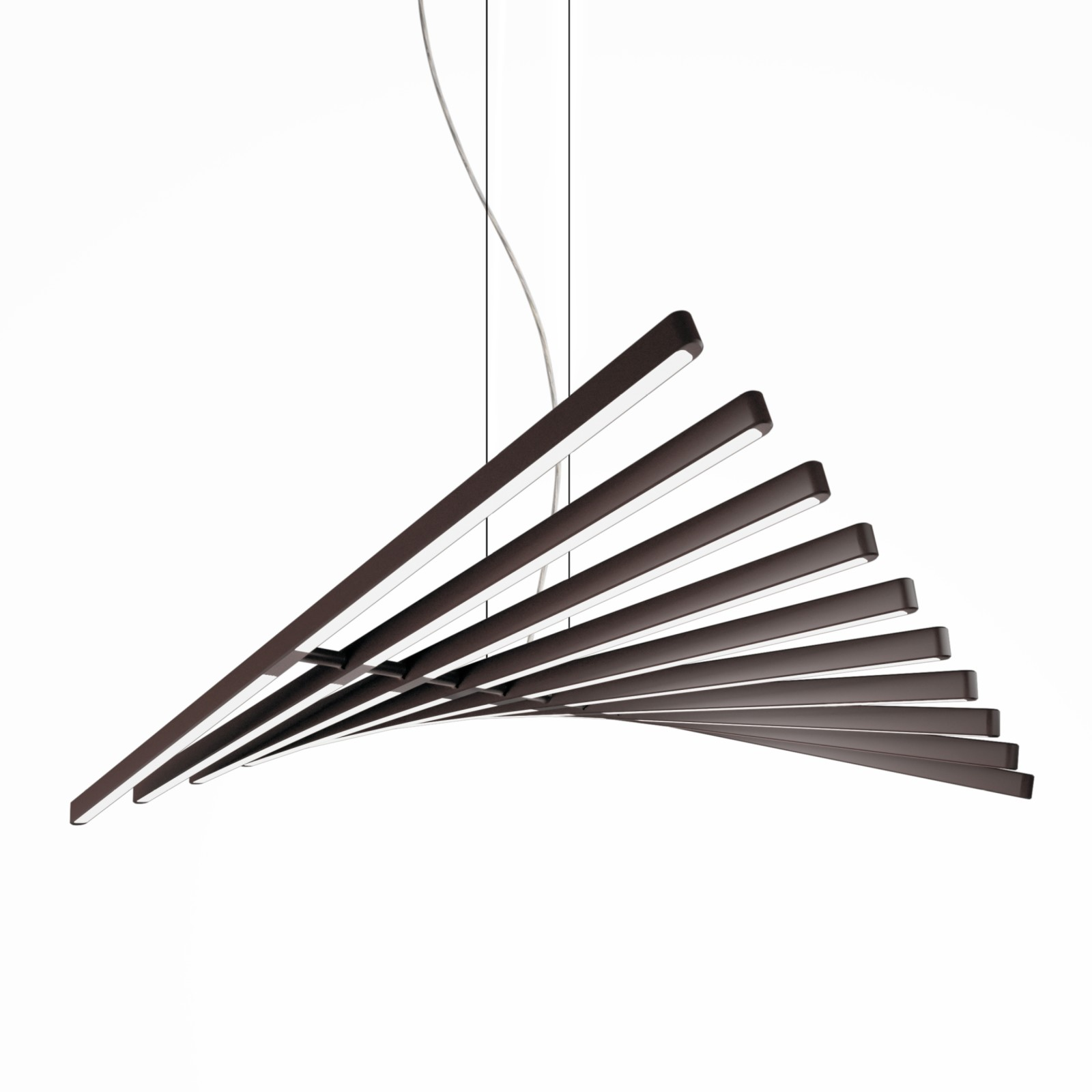 Rhythm Horizontal Pendant Light - 87 cm Height Matt Chocolate Lacquer, 63cm