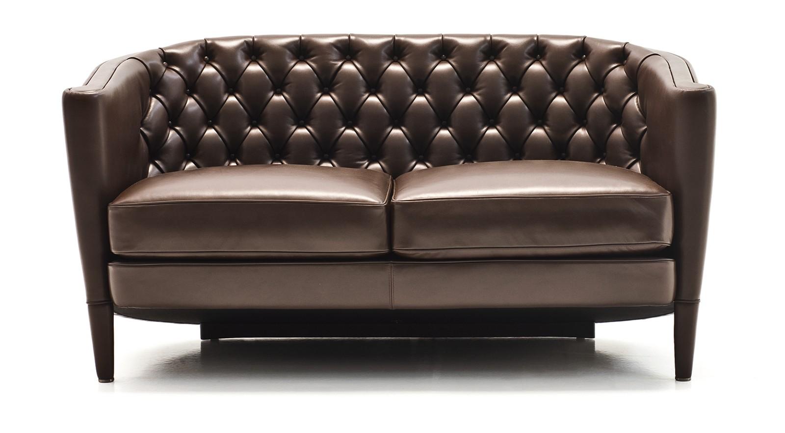 Rich Capitoné 2 Seater Sofa A4500 - Art.48045 - 206 beige, Matt Black Beech Feet