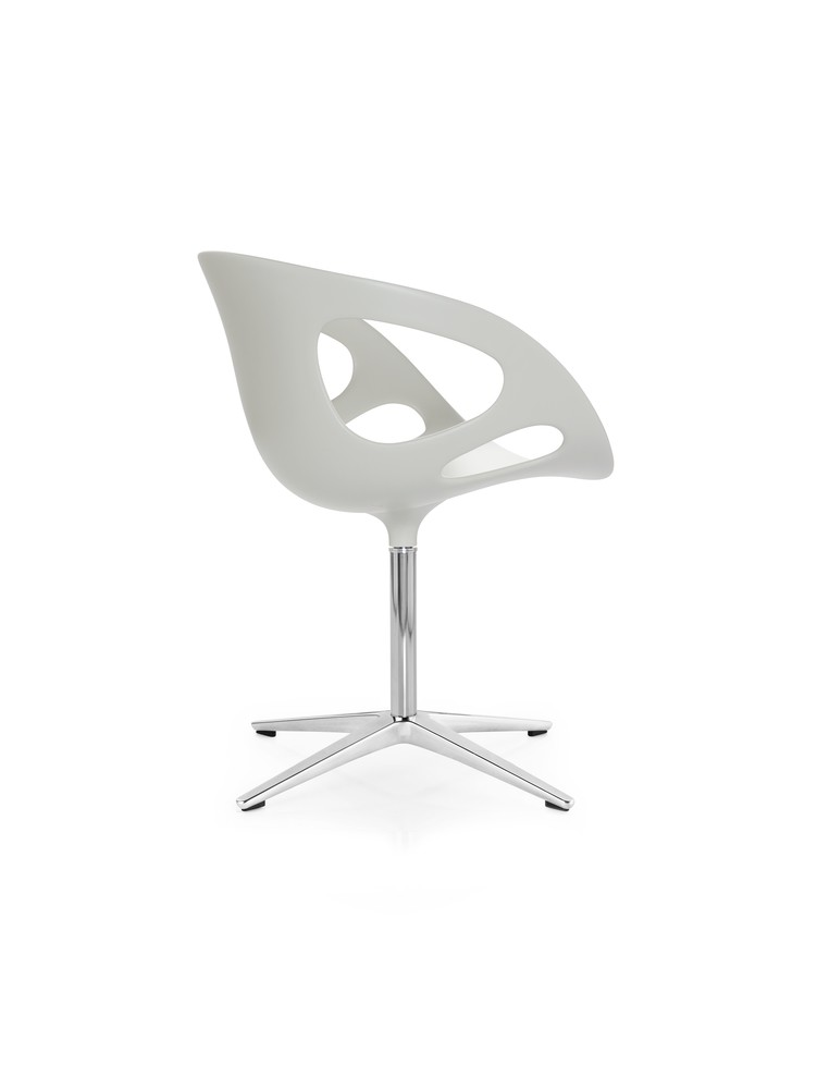 Rin Plastic Chair Plastic White, Polished aluminium