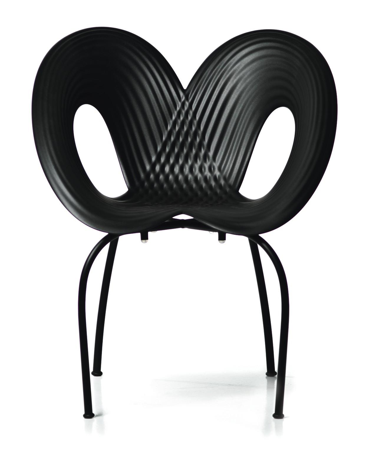 Ripple Set of 2 Dining Chairs Carbon Black Shell, Black Matt Base