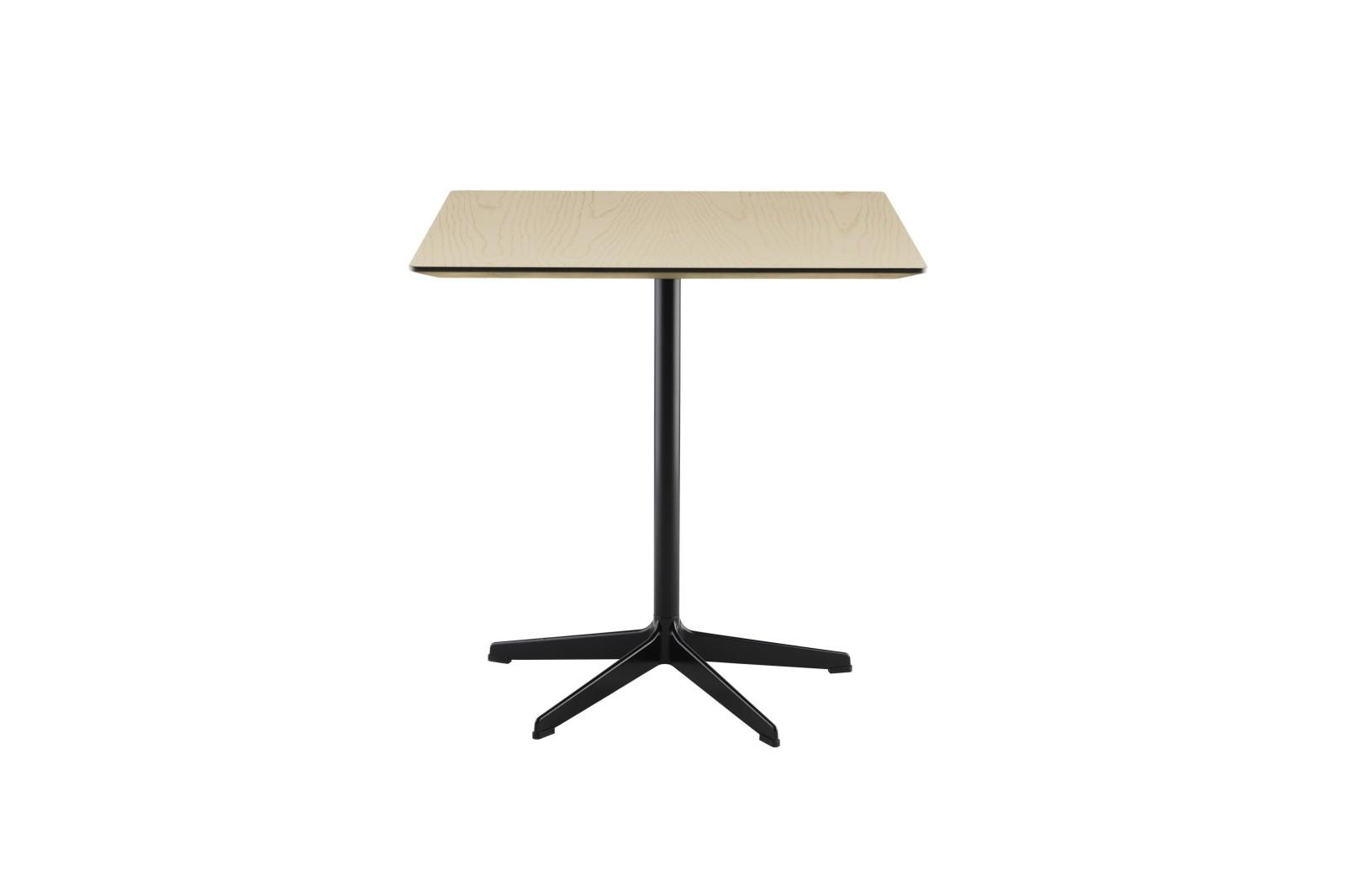Rondo Square Table 70 x 70 x 72, White Lacquer, Oak Natural Lacquer
