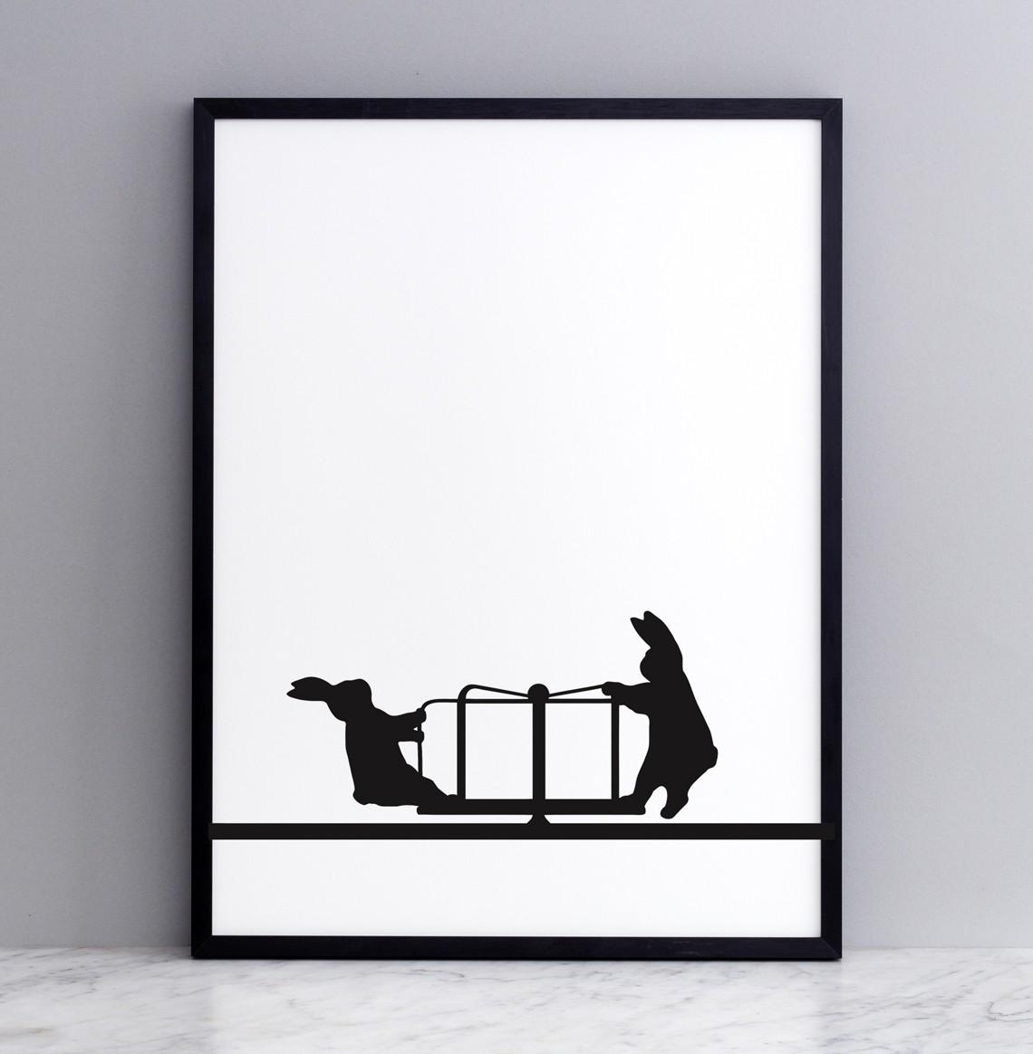 Roundabout Rabbit Screen Print Small