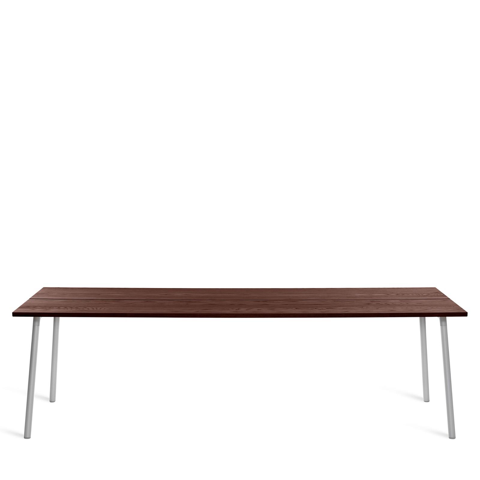 Run Dining Table Rectangular 244cm, Clear Aluminium, Walnut