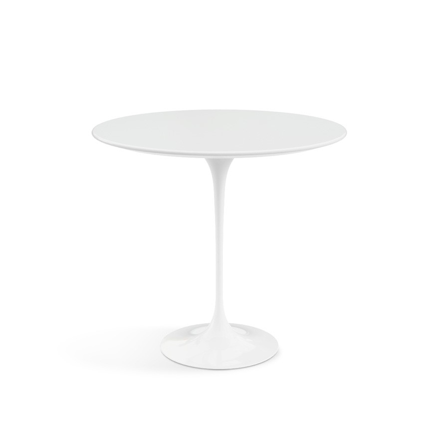 Saarinen Oval Side Table White Base, Laminate White Top