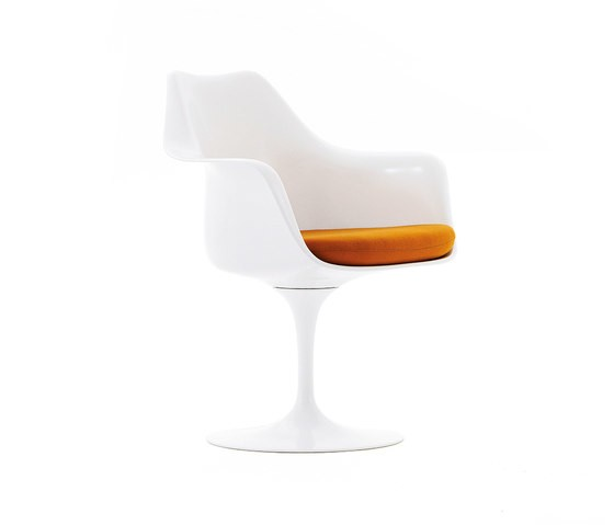 Saarinen Tulip Side chair White Shell & Base - Tonus 130 Fabric Divian Fabric 462