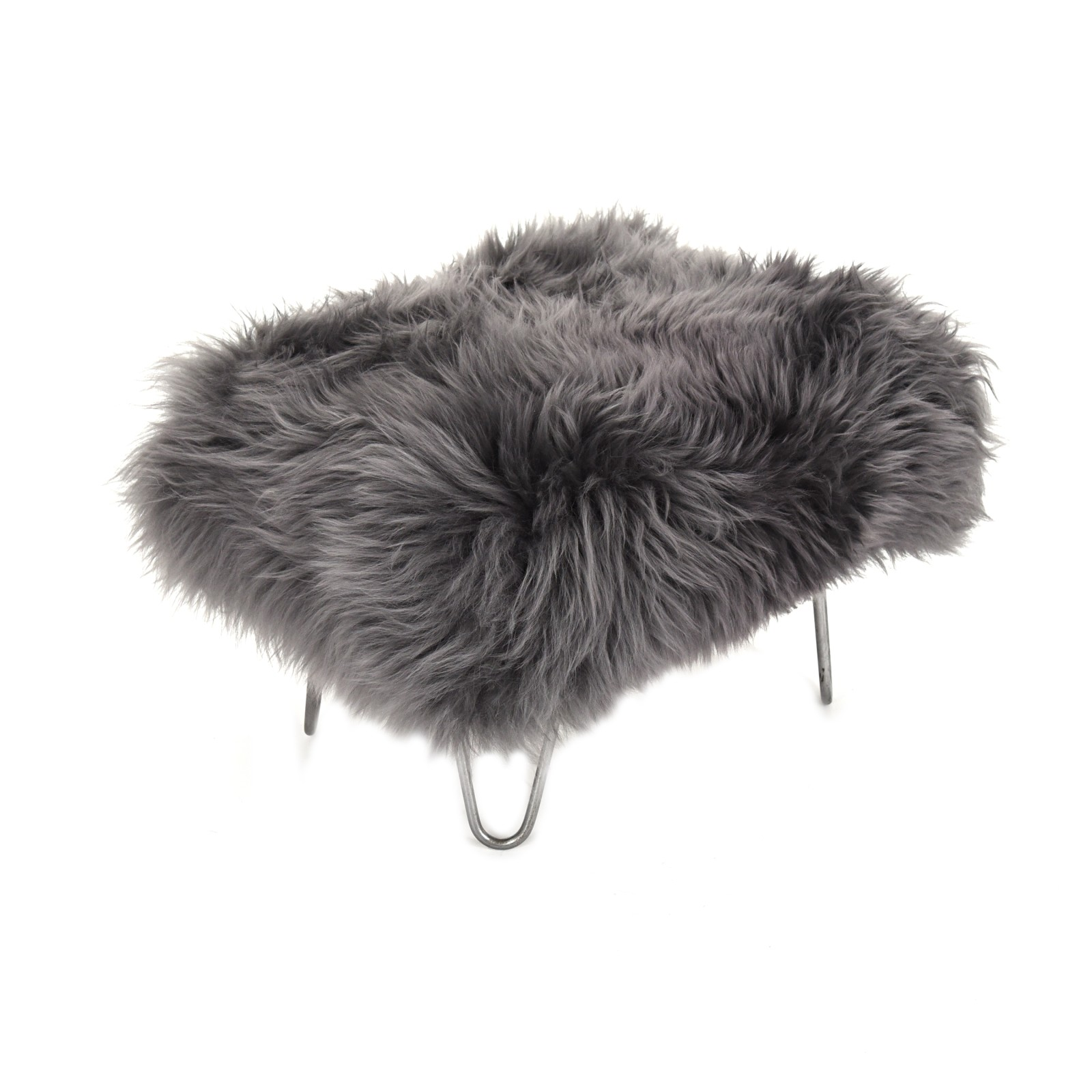 Sara Sheepskin Footstool Slate Grey