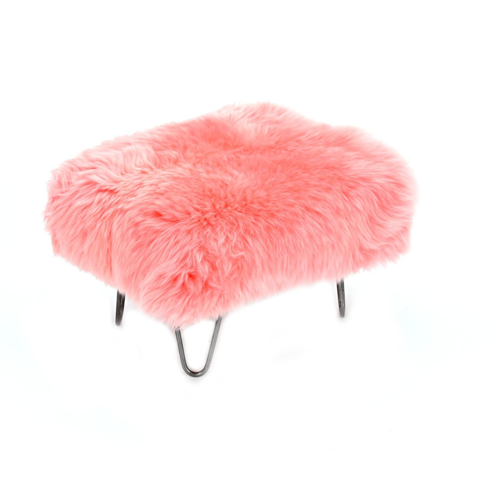 Sara Sheepskin Footstool Baby Pink