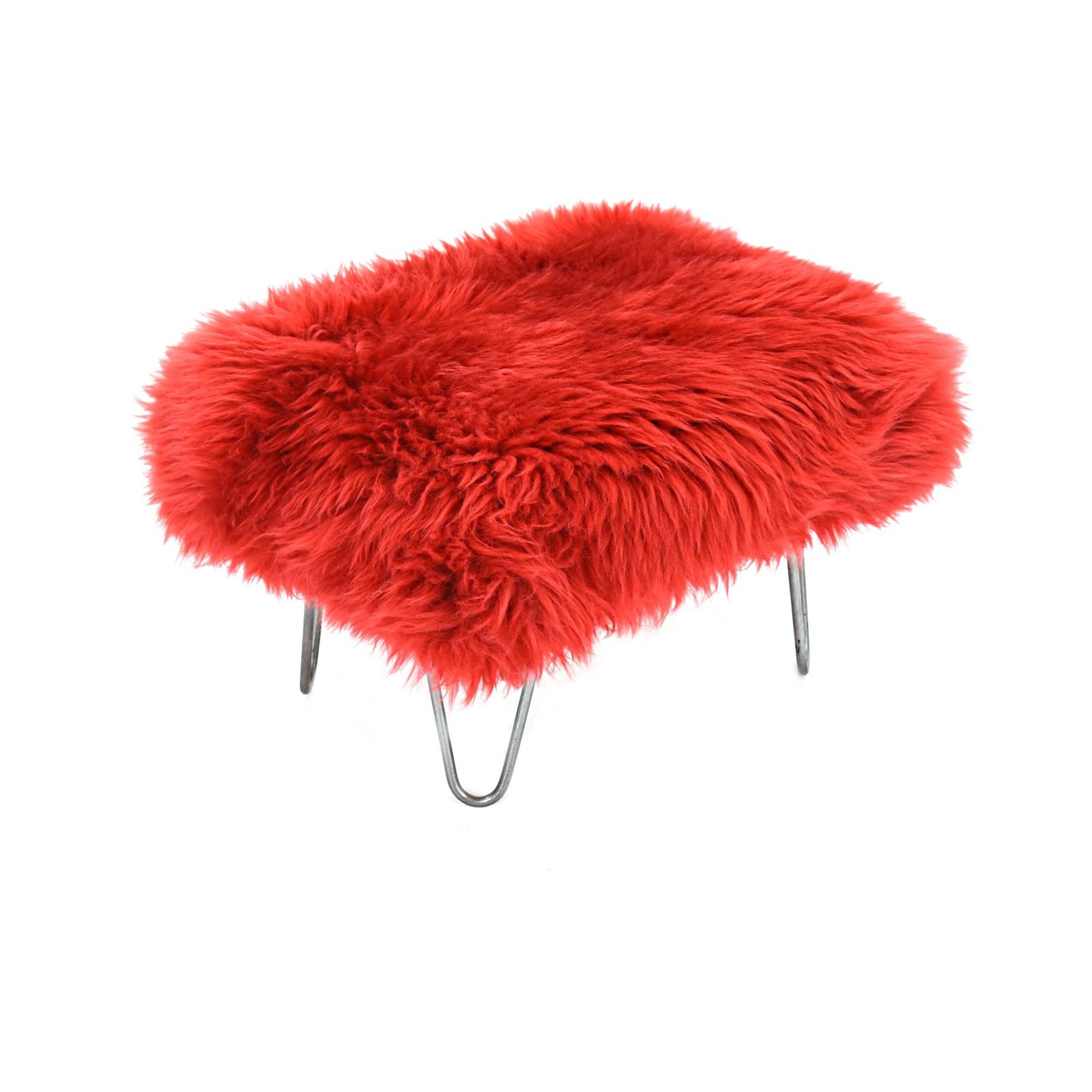 Sara Sheepskin Footstool Dragon Red