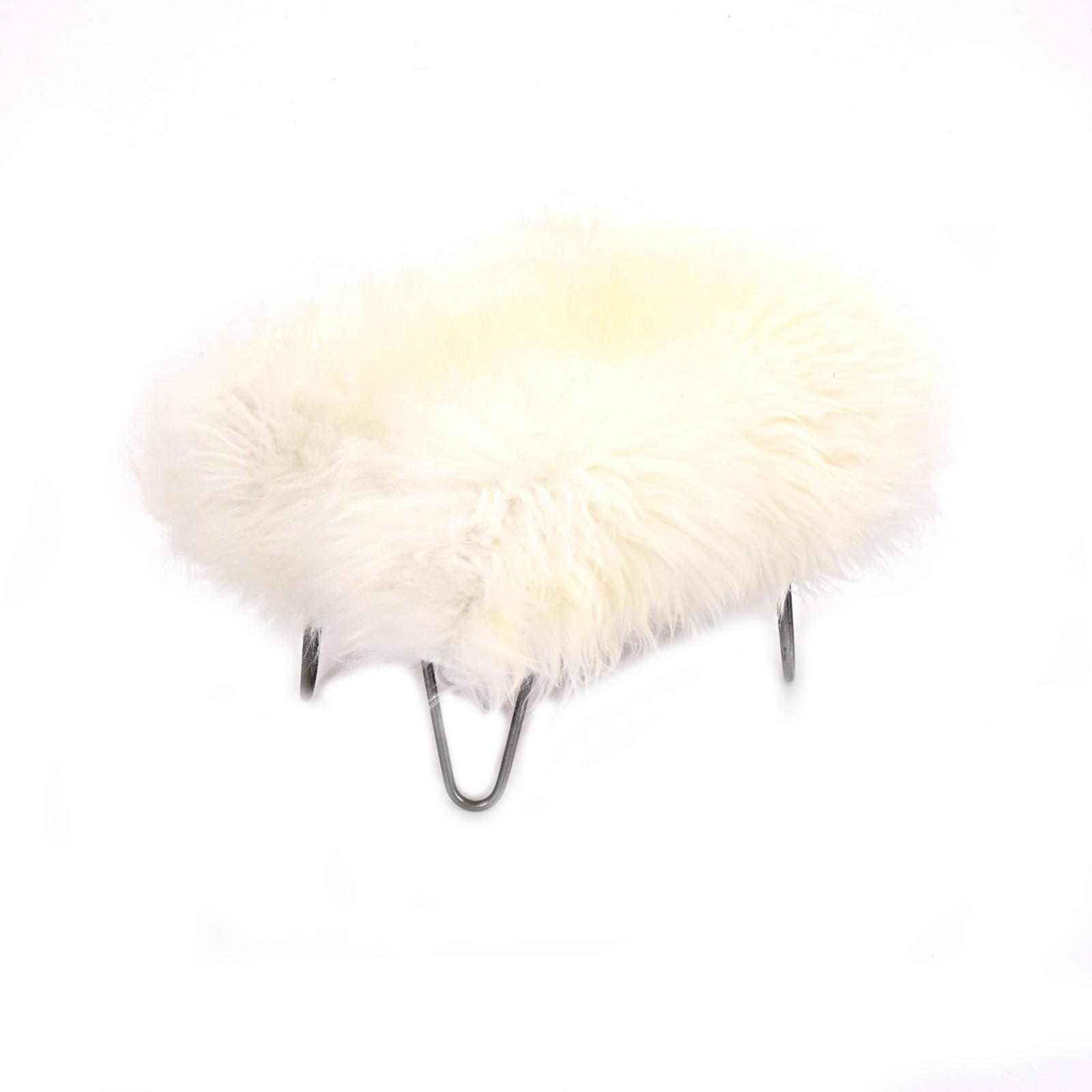 Sara Sheepskin Footstool Ivory