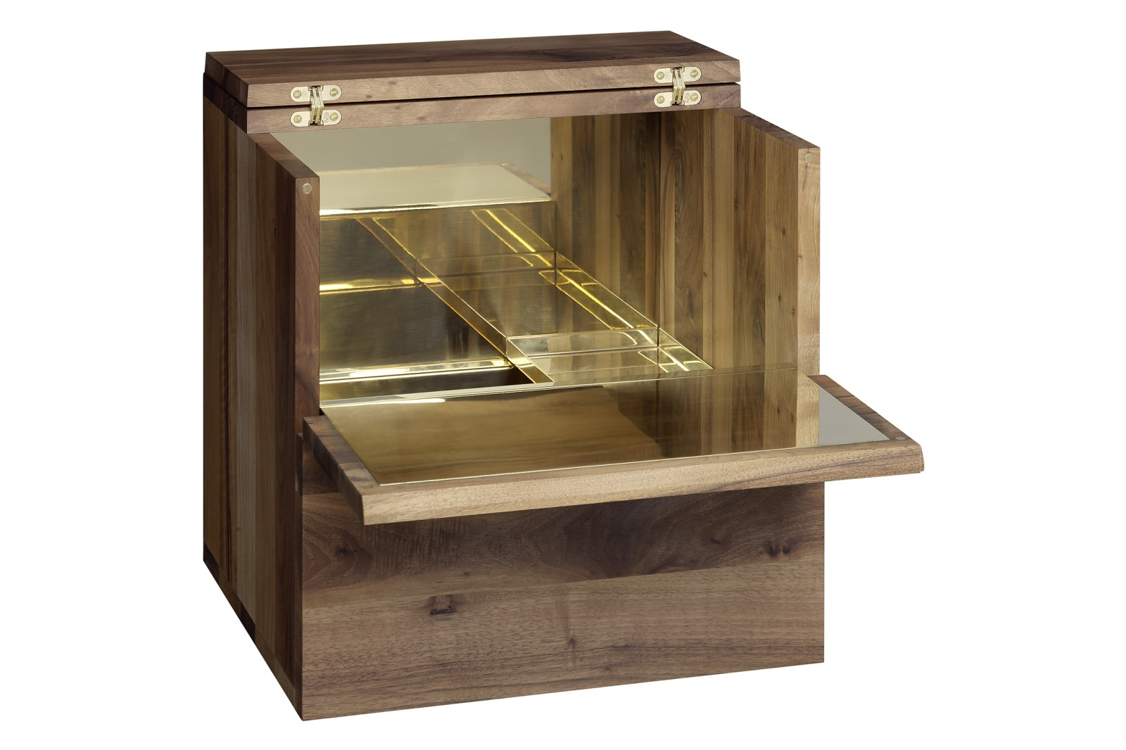 SB10 Araq Bar Cabinet Walnut and Brass, Short