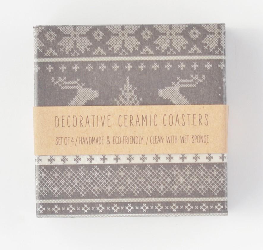 Scandinavian Knit Pattern Coasters