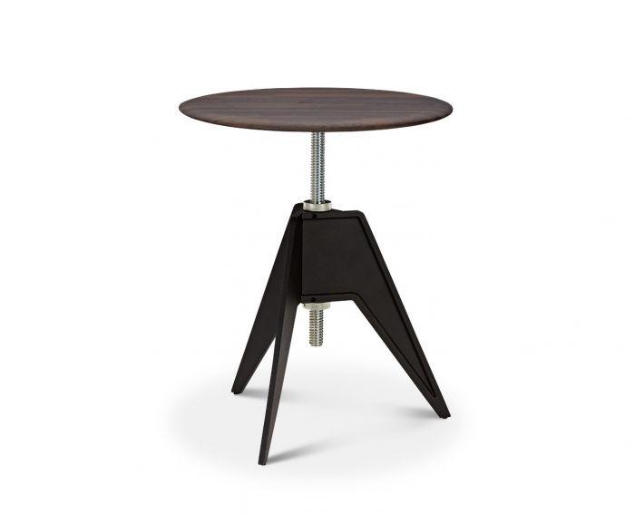 Screw Cafe Table Fumed Oak Top, 60cm