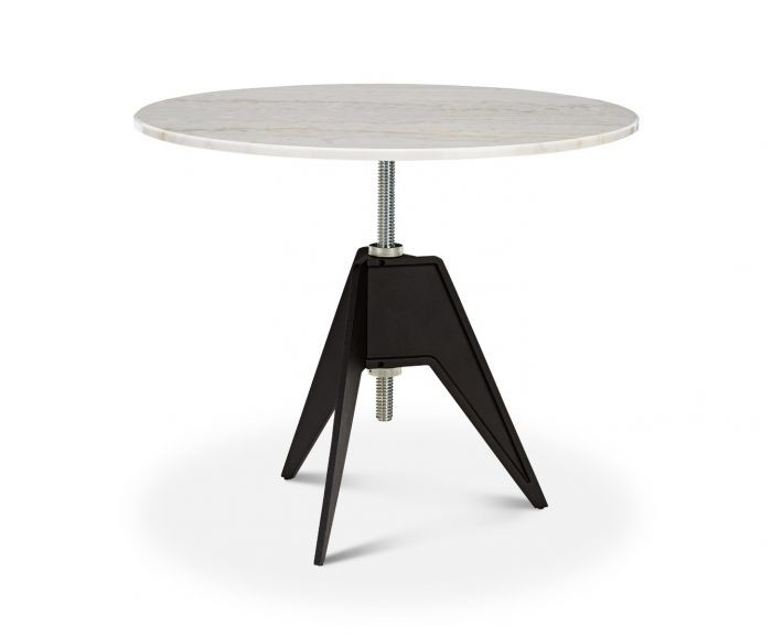 Screw Cafe Table White Marble Top, 90cm