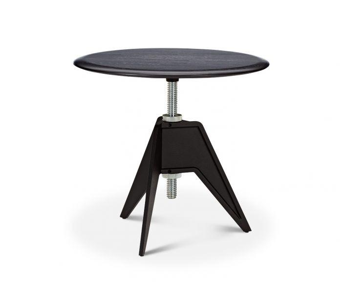 Screw Side Table Black Oak Top, 60cm