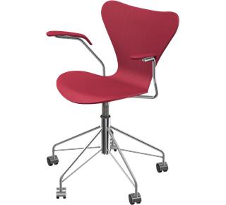 Series 7 Swivel Armchair Coloured Ash Opium Red 665